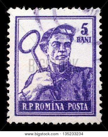 ZAGREB, CROATIA - JULY 18: A stamp printed in Romania shows steel-worker, circa 1950s, on July 18, 2012, Zagreb, Croatia