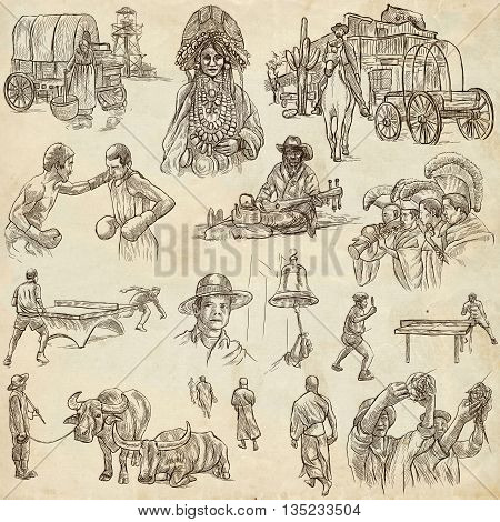 Sketching UNITED COLORS OF HUMAN RACE. Set of People and Natives. Collection of an hand drawn illustrations. Pack of full sized hand drawn illustrations original freehand sketches.