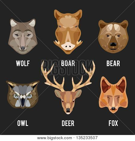 Animals heads flat icons. Animals circle design icons set. Head animal, face animal, character animal wild, vector illustration