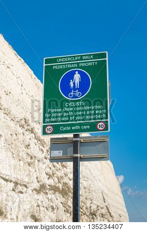 undercliff walk and cyclist path at Brighton UK