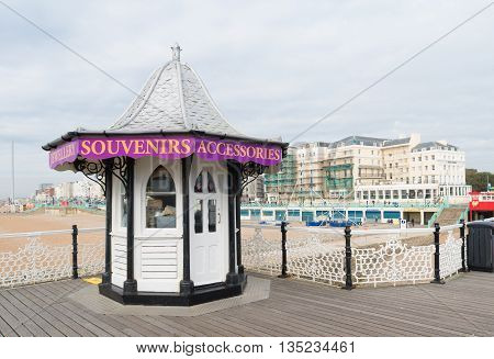 BRIGHTON UK - OCTOBER 20 2015: Souvenirs kiosk on the brighton pier one of the main attractions of the city