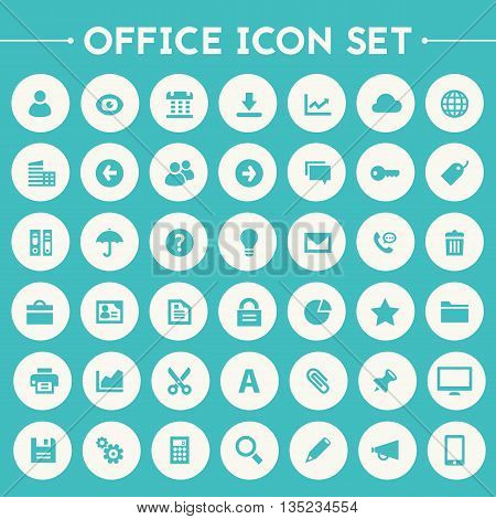 Trendy flat design big UI, UX and Office icons set on bright round buttons