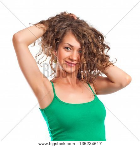 Curly young woman smile on white background