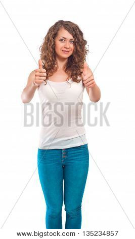 Curly young woman smile and showing thumbs up gesture on white background