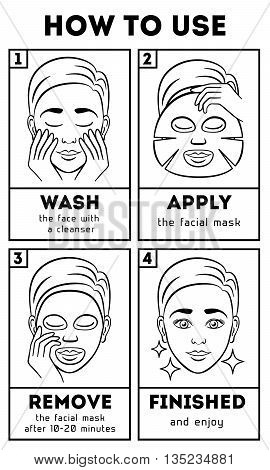 How to use facial sheet mask. Vector beauty and care instruction. Care cosmetic, mask face, mask facial, cream mask illustration