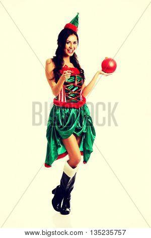 Woman holding christmas bubble