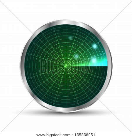 Radar icon. Illustration on white background for design.Vector EPS10. Radar monitor with scanning. Vector illustration