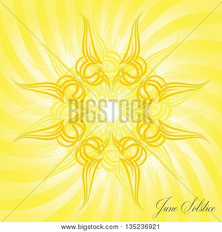 A geometric design for summer solstice day in June on a yellow background with multiple sun rays