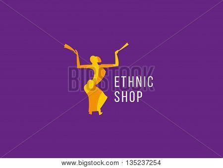 Creative logo ethnic shop. Dancing girl with fans