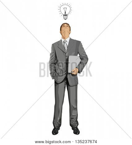 Vector business man in suit looking up, looking for idea, with laptop in his hands