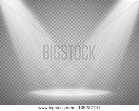 Vector isolated spotlight. Scene illumination. Light effect. Vector illustration