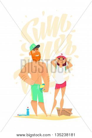 Time to play. Funny summer characters in cartoon style
