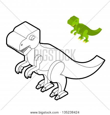 Tyrannosaurus Coloring Book. Dinosaur Isometric Style. Prehistoric Monster Linear Style. Cute Dino.