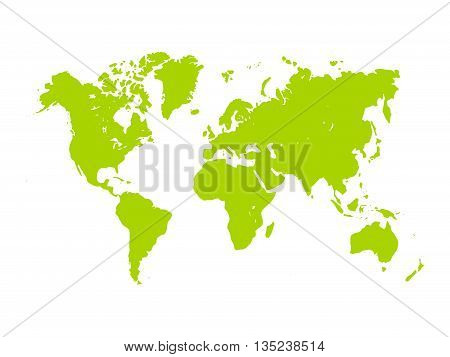 Vector map of World. Green silhouette on white background. Simplified World map