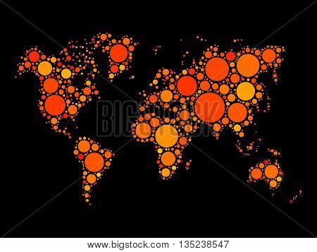 World map mosaic made of dots in various sizes. Vector illustration in shades of orange.