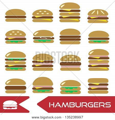 Colorful Hamburgers Types Fast Food Modern Simple Icons Eps10