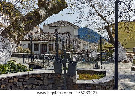 Center of village of Panagia, Thassos island,  East Macedonia and Thrace, Greece