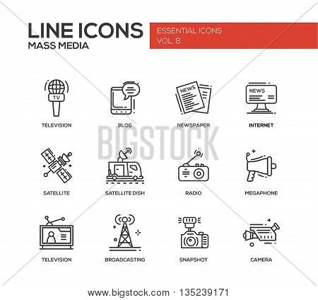 Set of modern vector simple line design mass media icons and mass media pictograms. Tv, newspaper, blog, internet, radio satellite, megaphone, broadcasting, camera, snapshot