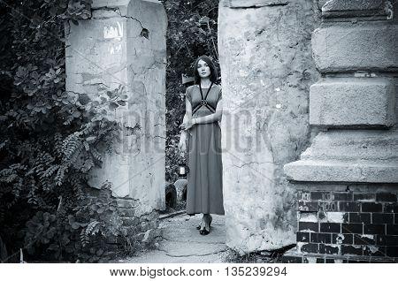 Beautiful girl in a boho dress, street fashion casual style