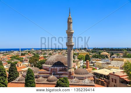 General view Rhodes with roofs, minaret and mosque