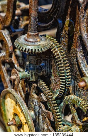Close-up of an ancient gears metal mechanism