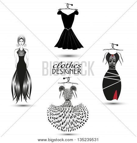 Four black dresses vector illustration Set of four black fancy dress on a white background for decoration and design vector illustration