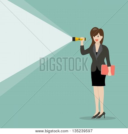 Business woman holding flashlight. Business concept vector illustration