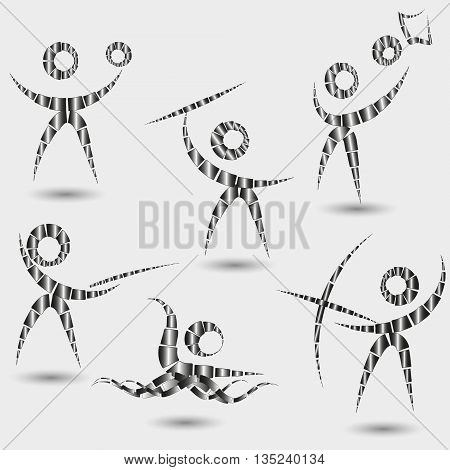 Vector illustration of Emblems Sports Set Black white logo of sports on a gray background, are represented - basketball, valeybol, swimming, javelin throwing, archery, fencing