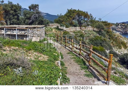 Ruins of Archaeological site of Aliki, Thassos island,  East Macedonia and Thrace, Greece