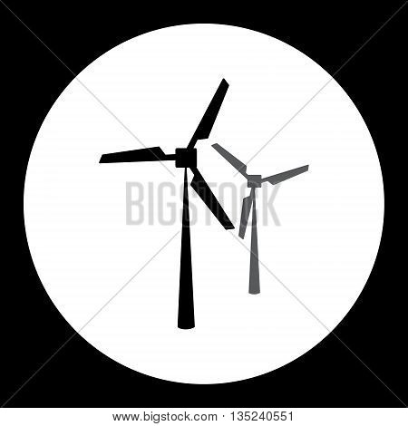 Two Black Wind Power Plant Isolated Black Icon Eps10