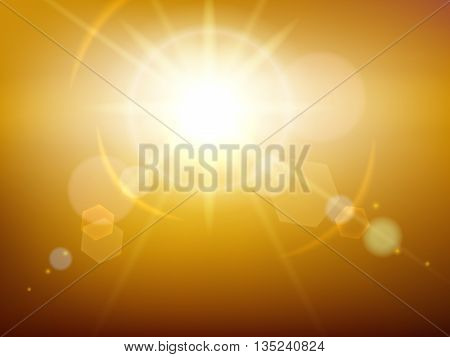 Yellow glow sunshine or vector sunburst background