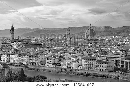 Florence In Italy With The Dome Of The Duomo And Palazzo Vecchio