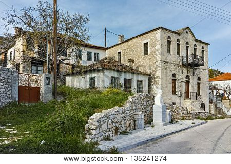 Panoramic view with old houses in village of Theologos,Thassos island, East Macedonia and Thrace, Greece