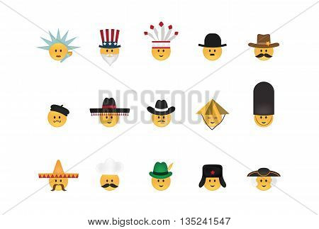 Set of  emoticon with hat vector isolated on white background. Emoji vector. Smile icon set. Emoticon icon web.