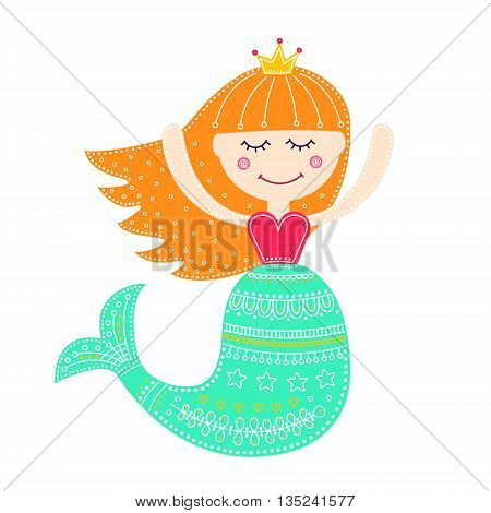 Cute mermaid. Vector hand drawn flat mermaid with doodle ornament. Isolated. Bright colors - pink yellow white green orange. On white background. Design for children.