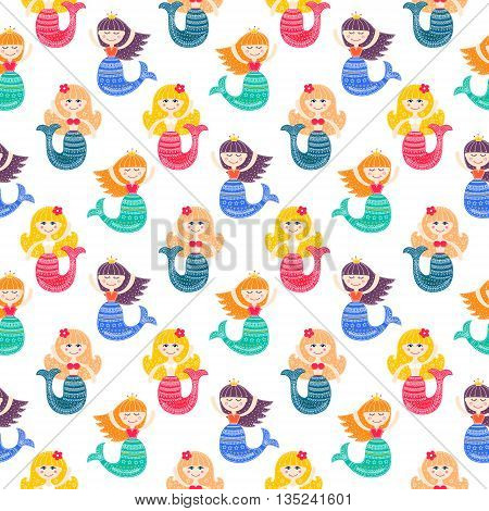 Cute mermaid. Vector seamless pattern with flat mermaid girls. Colorful sea background for kids. Bright colors - pink yellow blue green violet. Flat mermaid with doodle ornament on white background.