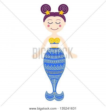 Cute mermaid. Vector hand drawn flat mermaid with doodle ornament. Isolated. Bright colors - pink yellow white blue and violet. On white background. Design for children.