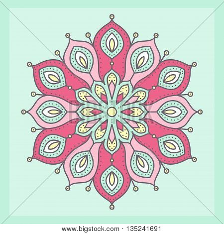 Vector mandala. Hand drawn tribal mandala with doodle ornament. Ethnic Indian mascot. Flower mandala amulet. Yellow white pink and green colors. On green background.