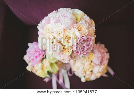 Wonderful luxury wedding bouquet of different flowers.