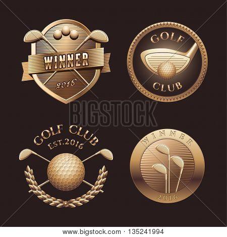 Set of golf vector logo trophy design element