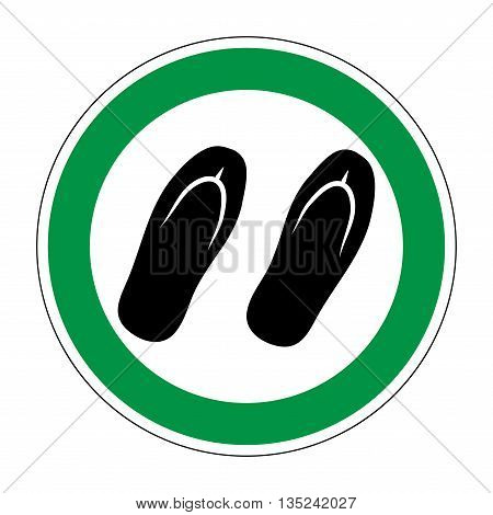 Sign place for sandals. Flat symbol of step-ins for visitors. Modern art scoreboard. Allowed graphic image. Plane slipper mark in green circle on white background. Stock vector illustration