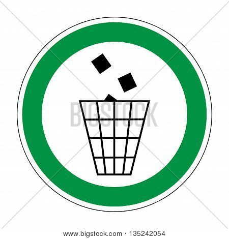 Sign place for littering. Flat symbol of garbage. Modern art scoreboard. Allowed graphic image. Plane refuse mark in green circle on white background. Recycle figure. Stock vector illustration