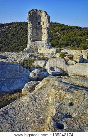 Ancient tower in The ancient Thracian city of Perperikon, Kardzhali Region, Bulgaria