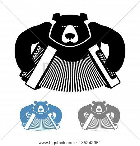 Russian Bear With Accordion Icon Flat Style. Wild Beast And Musical Instrument. National Folk Russia