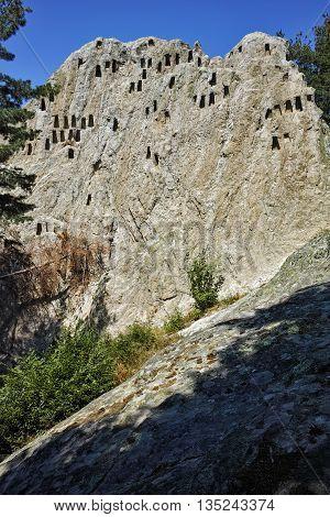 Amazing view of Thracian Sanctuary Eagle Rocks near town of Ardino, Kardzhali Region, Bulgaria