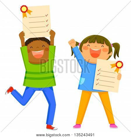 Happy kids holding their excellent report cards