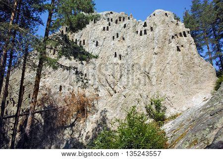Panoramic view of Thracian Sanctuary Eagle Rocks near town of Ardino, Kardzhali Region, Bulgaria