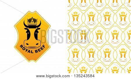 Royal Beef Logo. Cow In Crown. Excellent Quality Meat. Logo For Farming And Meat Production. Farm An