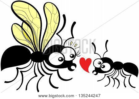 Lovely couple of ants composed by a queen and a worker which dares to declare its love by showing a red heart while feeling shy and nervous. The queen can not hide its surprise and feels disconcerted