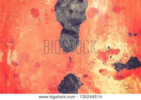 Rusty metal surface with old peeled paint for use as a texture or background
